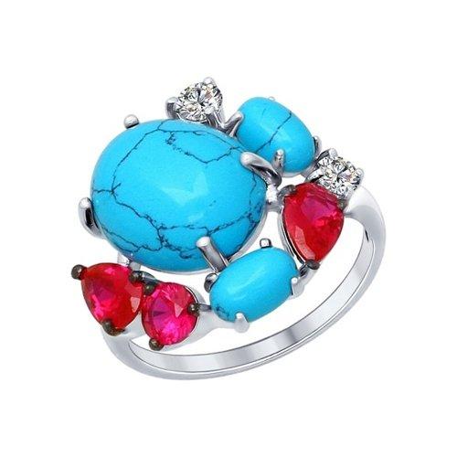 Кольцо из серебра с бирюзой (синт.) и красными фианитами (83010024) - фото