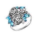 Кольцо из белого золота с топазами и фианитами «Розы»