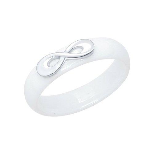 Белое керамическое кольцо «Бесконечность»