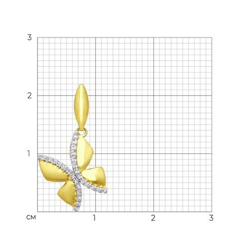 Подвеска из желтого золота с фианитами (034785-2) - фото №2
