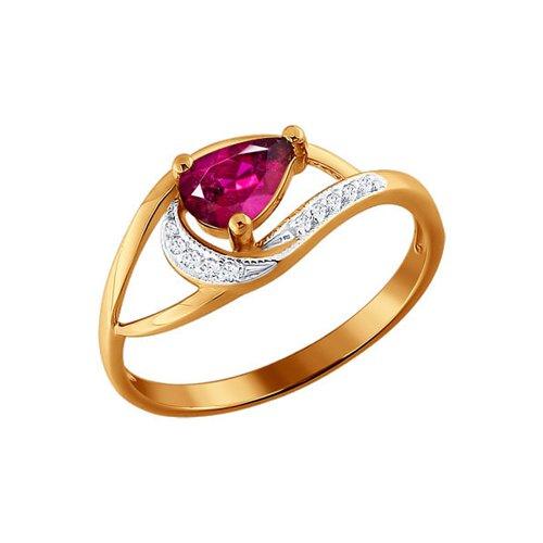 Фото - Кольцо c рубином и бриллиантовыми дорожками SOKOLOV кольцо золотое с рубином и дорожками бриллиантов sokolov