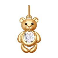 Подвеска «Мишка» из золота с фианитом
