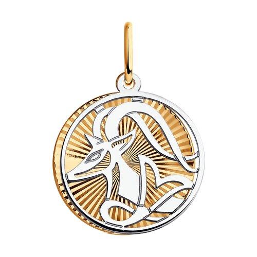 Подвеска из комбинированного золота с алмазной гранью (035708) - фото
