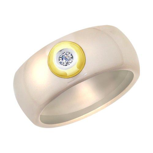 Керамическое кольцо с жёлтым золотом и бриллиантом