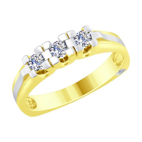 Кольцо из желтого золота с бриллиантами (1011726-2) - фото
