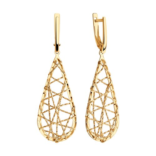 Серьги из золота с алмазной гранью (028718) - фото №2