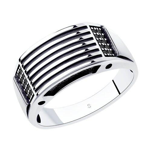 Кольцо из чернёного серебра с фианитами (95010122) - фото