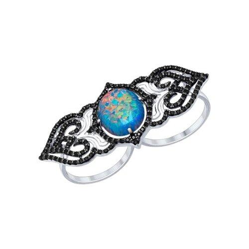 Кольцо на два пальца из серебра с чёрными фианитами