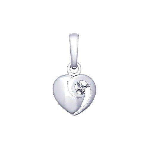 Серебряная подвеска в виде сердца с бриллиантом (87030004) - фото