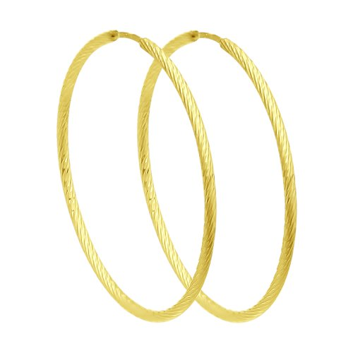 Серьги из желтого золота с алмазной гранью (140140-2) - фото