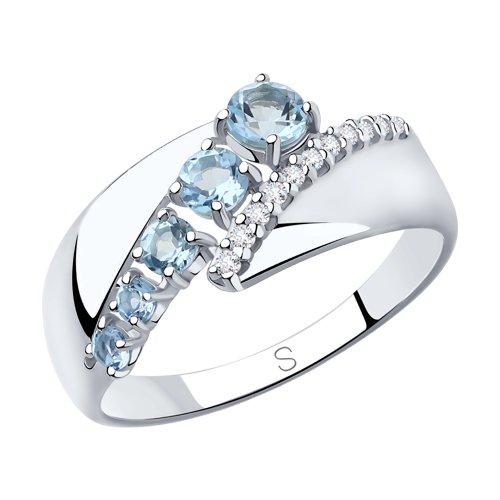 Кольцо из серебра с топазами и фианитами (92011814) - фото