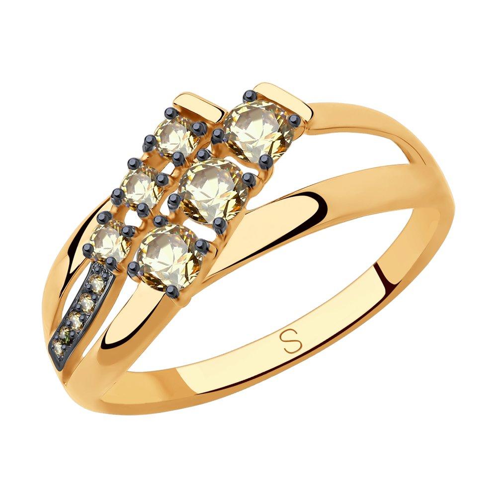 Кольцо SOKOLOV из золота с жёлтыми Swarovski Zirconia фото