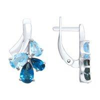 Серьги из серебра с голубыми и синими топазами