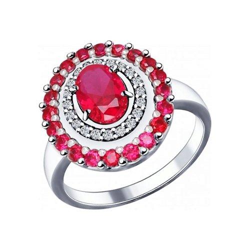 Кольцо из серебра с корундами рубиновыми (синт.) и фианитами