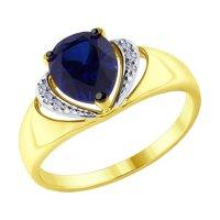 Кольцо из желтого золота с бриллиантами и синим корундом (синт.)