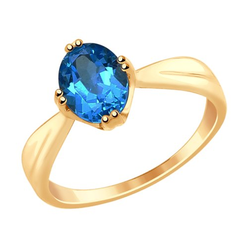Кольцо из золота с синим топазом (715009) - фото
