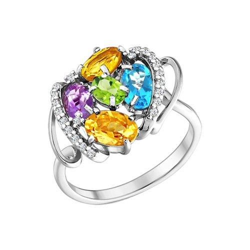 Кольцо из серебра c миксом из камней