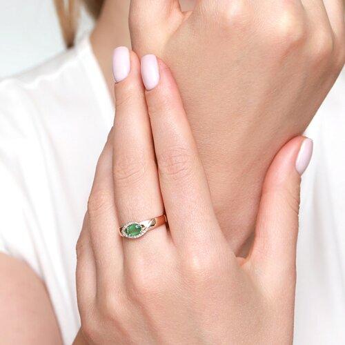 Кольцо из комбинированного золота с бриллиантами и изумрудом (3010519) - фото №3