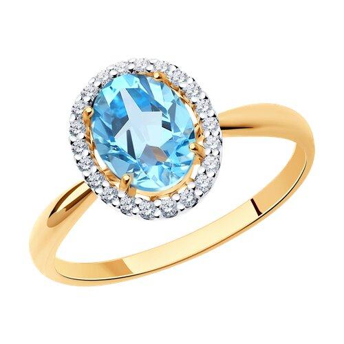 Кольцо из золота с топазом и фианитами (714962) - фото
