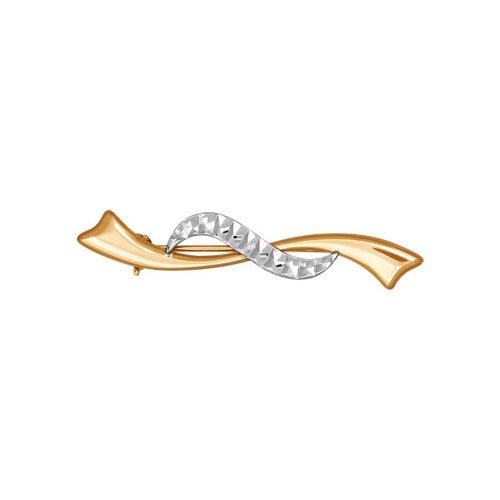 Брошь из комбинированного золота с алмазной гранью (040037) - фото