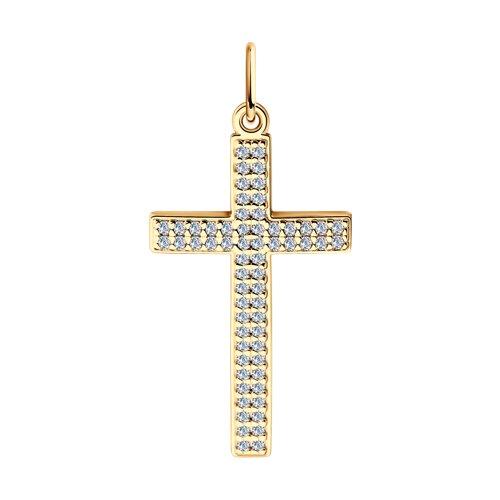Крест из золота c фианитами в два ряда