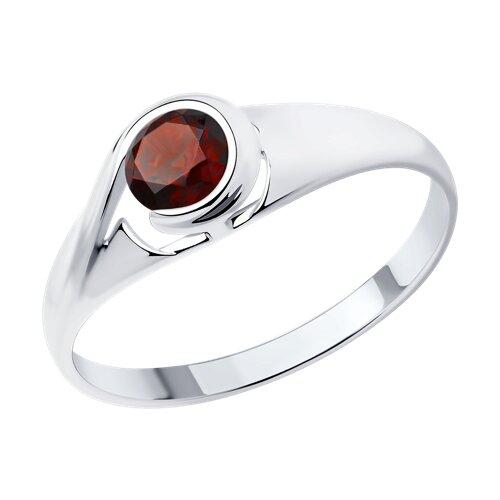 Кольцо из серебра с гранатом (92011663) - фото