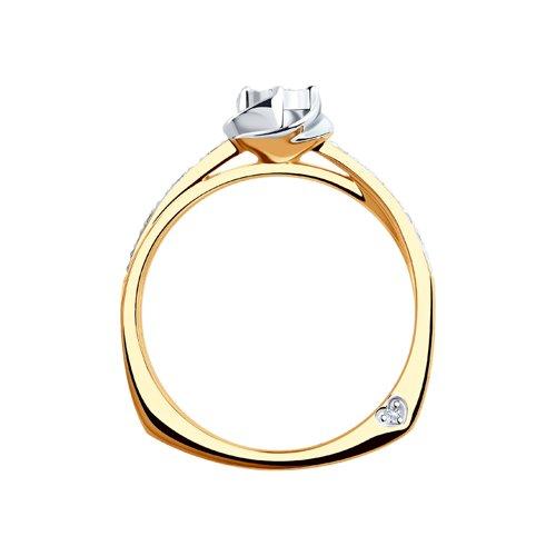 Кольцо из комбинированного золота с алмазной гранью с бриллиантами 1011698 SOKOLOV фото 2