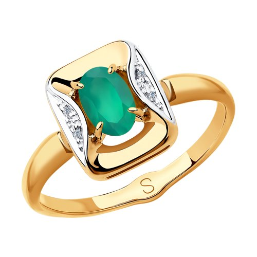 Кольцо из золота с бриллиантами и агатом (6013054) - фото