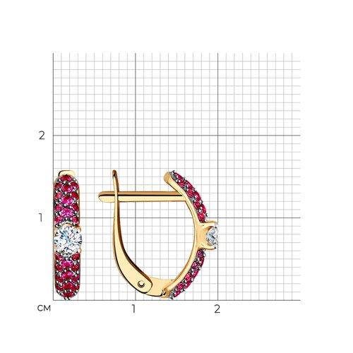 Серьги из золота с бесцветными и красными фианитами (027494) - фото №2