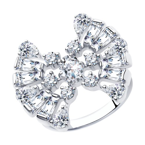 Кольцо из серебра с фианитами (94013079) - фото