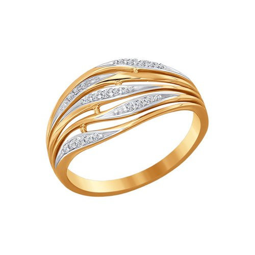 Золотое широкое кольцо с фианитами SOKOLOV золотое кольцо ювелирное изделие 01k645533
