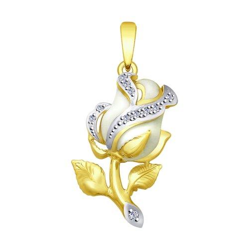 Подвеска из желтого золота с эмалью и бриллиантами (1030649-2) - фото