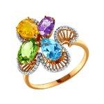 Кольцо с композицией из полудрагоценных камней
