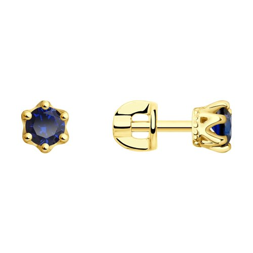 Серьги из желтого золота с синими фианитами (027628-2) - фото