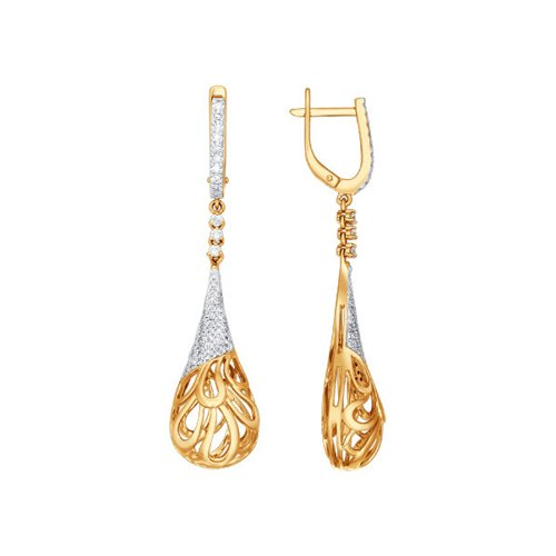 Изысканные длинные серьги из красного золота с бриллиантами