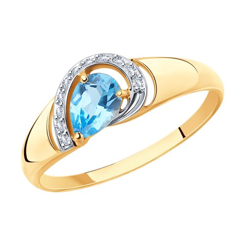 Кольцо из золота с топазом и фианитами (715377) - фото