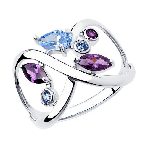 Кольцо из серебра с фианитами (94013034) - фото