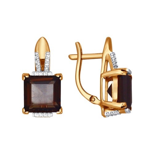 Серьги из золота с раухтопазами и фианитами