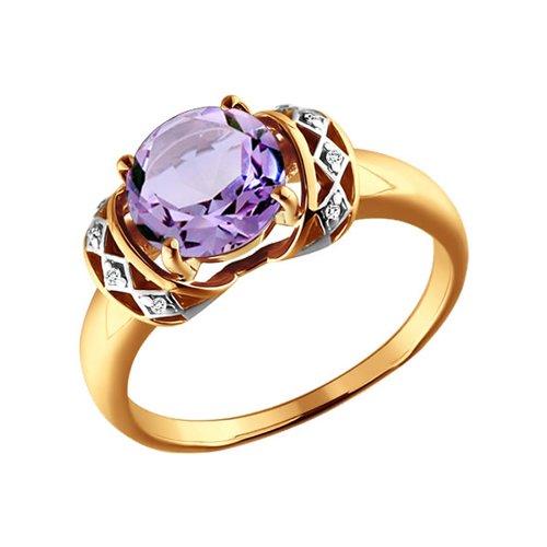 Кольцо SOKOLOV из золота c крупным круглым аметистом и узорным декором с фианитами кольцо с крупным аметистом