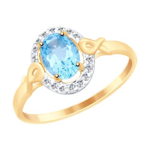 Кольцо из золота с топазом и фианитами (37715070) - фото