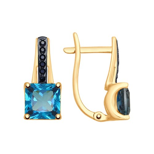 Серьги из золота с синими топазами и фианитами (725357) - фото