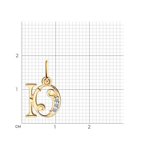 Золотая подвеска-буква «Ю» (033835) - фото №2