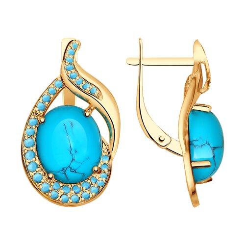 Серьги из золота с  и голубыми поделочные