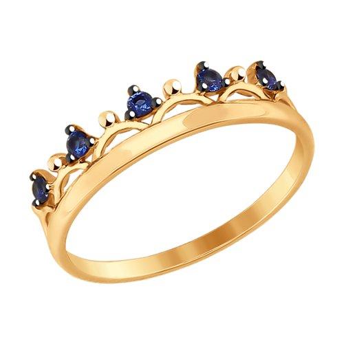 Кольцо «Корона» с синими фианитами SOKOLOV петля подвес корона кольцо латунная 4шт