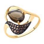 Кольцо из золота с раухтопазом и коричневыми фианитами
