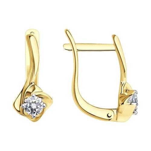 Серьги из желтого золота с бриллиантами (1021105) - фото