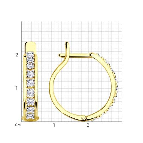 Серьги из желтого золота с фианитами 028541-2 SOKOLOV фото 2