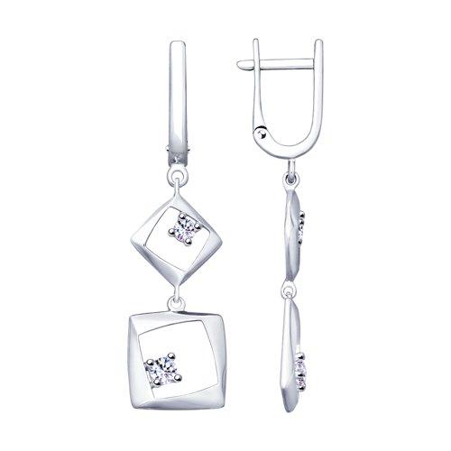 Серьги из серебра с фианитами (94023230) - фото