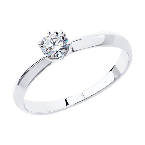 Помолвочное кольцо из белого золота со Swarovski Zirconia