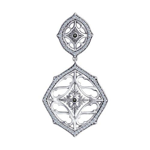 Подвеска из серебра с фианитами (95030202) - фото